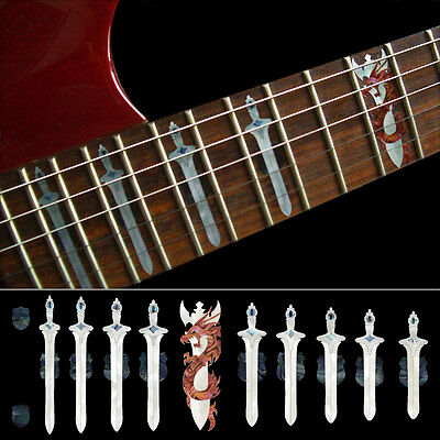 Inlay Stickers Decals Fret Markers For Guitar - Sword with Dragon WP