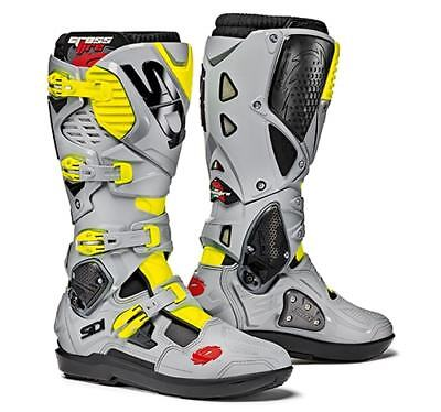 Sidi Crossfire 3 SRS Motocross Boots - Black/Ash/Fluo Yellow SIZE EU 42 UK 8