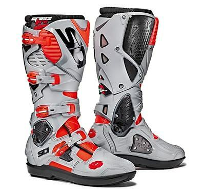Sidi Crossfire 3 SRS Motocross Boots - Grey / Fluo Red SIZE EU 46 UK 11