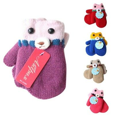 Kids Baby's Cute Winter Warm Gloves with Long Rope Thermal Full Fingers Mitten