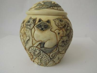 Cat Trinket Pot, Jardinia Range, Harmony Kingdom, Martin Perry Studio