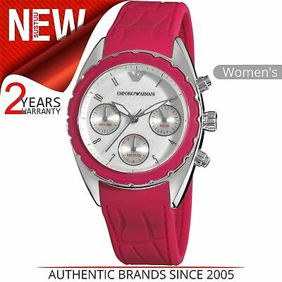 Emporio Armani Women's Watch AR5937¦Chronograph Silver Dial¦Pink Silicone Band