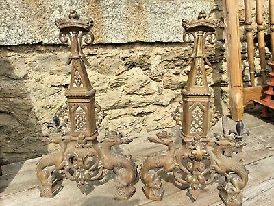 Antique French Andirons~Firedogs~Dragons~solid Brass Decorative- c1910