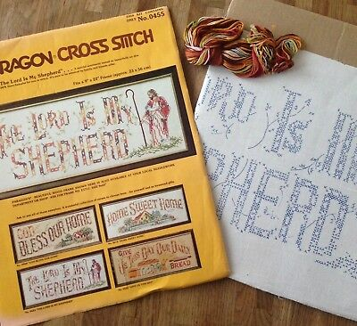 "Vintage Cross Stitch Kit Sampler THE LORD IS MY SHEPHERD Needlecraft 9""x22"""