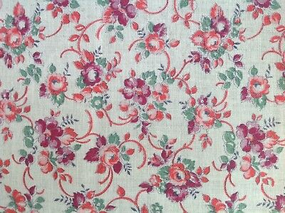 vintage rose floral cotton feedsack fabric 1920s / 1930s
