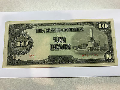 Japanese Government 10 Pesos Occupation Note Philippines folds Crisp XF #4809