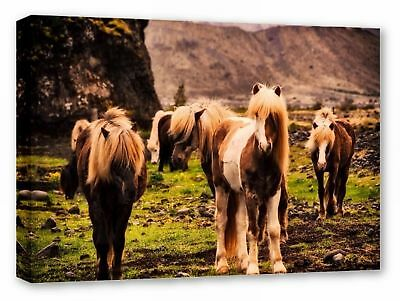 Iceland Horses Ponies Mountains Landscape Canvas Wall Art Picture Print