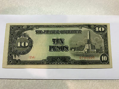 Japanese Government 10 Pesos Occupation Note Philippines folds Crisp XF #4807