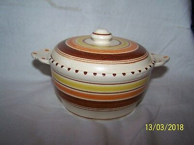 Honiton Twin Handled lidded dish  ~brown, orange & yellow banding ~ 16cms across