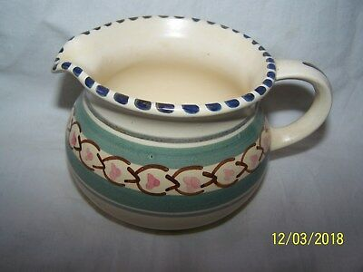 Honiton milk / cream jug ~ green banding with pink brown abstract flowers~7.5cms