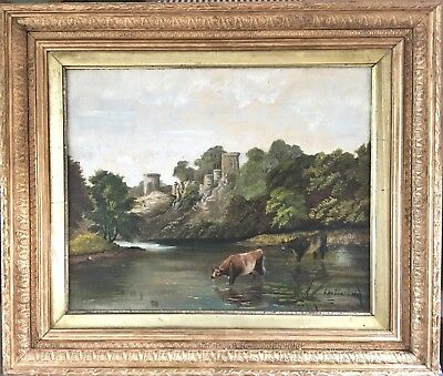 Antique Signed Dated Castle Cows Cattle River Gilt Framed Oil Painting On Canvas