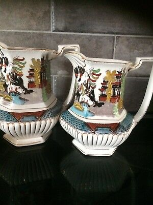 2 Antique Gaudy Ye Olde Willow Royal Overhouse Pottery Gater & Hall Jugs
