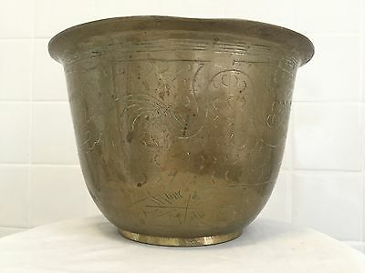 Vintage Chinese. Heavy Brass Planter Plant Pot Jardinierer.