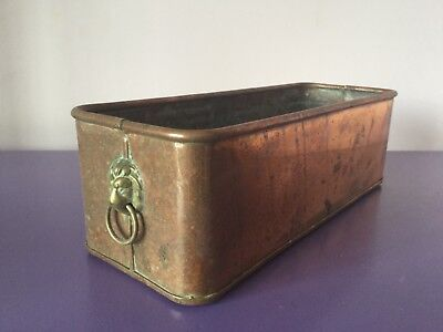 Vintage Copper & Brass Planter Plant Pot. .Window Sill Trough. Lion Head Handles