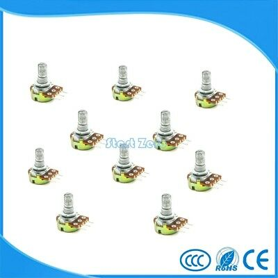 10PCS WH148 B1K~B1M ohm Linear Single Rotary Potentiometer 15mm Shaft With Nuts