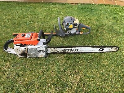 Very Large Clasic Stihl Chainsaw And Ryobi Hedge Cutter