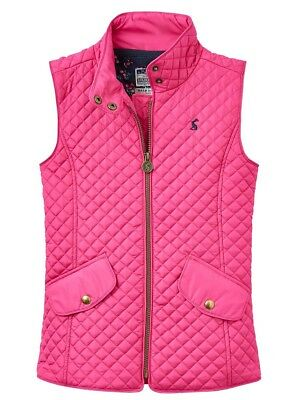 Joules Girls Funnel neck Jilly Quilted Gilet - Fuchsia Pink - Ages 5 - 10 Yrs