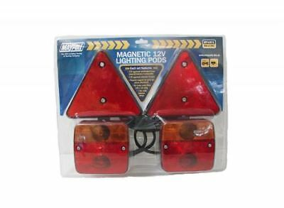 MAGNETIC Trailer Towing Lightboard Rear Tail Board Lamps 6m Cable & Triangles