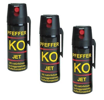 3er Set Pfefferspray 50ml Tierabwehrspray Ballistol Jet + Gürtelclip Spray
