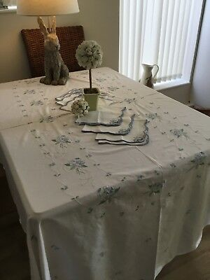 Large Vintage Table Cloth. White. Embroidered. Oval 92 Inches By 64  6 Napkins.