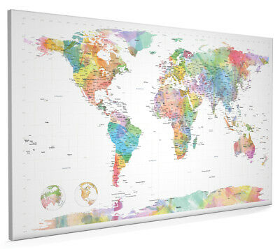 Watercolor Political Map of the World Box Canvas and Poster Print (472)