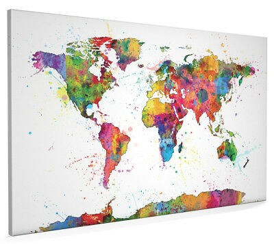 Map of the World Map Watercolor Box Canvas and Poster Print (1151)