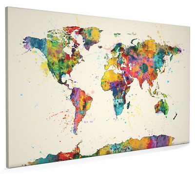Map of the World Map Watercolor Box Canvas and Poster Print (1153)