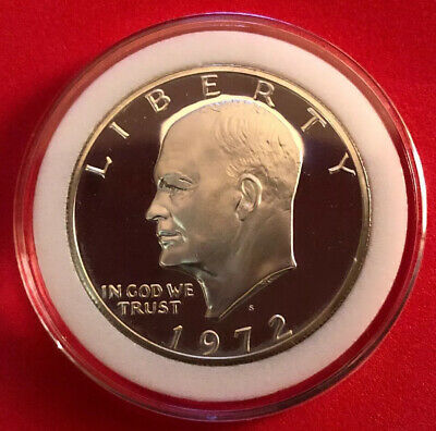 1972 S PROOF Eisenhower Dollar Ike 40% Silver GEM High Grade In Coin Capsule!