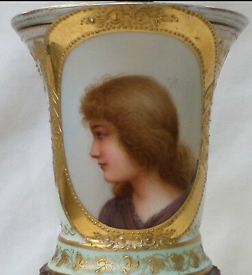 Antique Portrait Cup Lamp - Wagner - Hand Painted Raised Gold