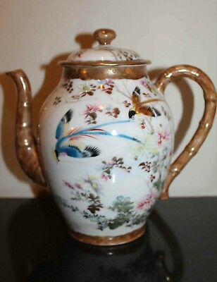 JAPANESE HAND ENAMELED TEAPOT With Birds & Flowers, Mid 20th Cent., VERY FINE!