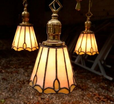 Antique brass hanging fixture/light with stained glass shades