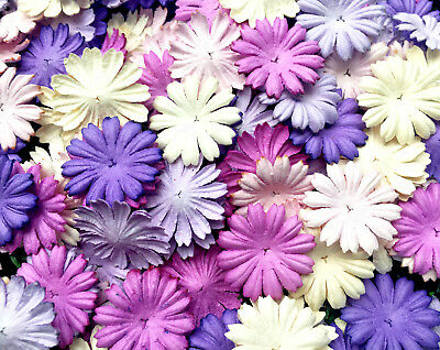 50 Pcs. Mixed Purple Tone & White Daisy Flowers mulberry paper for Craft & DIY