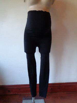 M2B Maternity Thick Black Footless Over Bump Support Tights One Size
