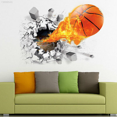 7EE7 3D Basketball Removable Wall Stickers Living Room Decor Kid's Room Mural De