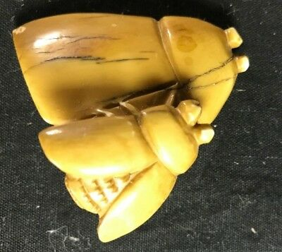 Vintage Artist Signed Netsuke Two Flies or Bees Asian Antique Piece