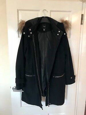 Maternity Black Winter Coat, New Look, Size 10, Excellent Condition