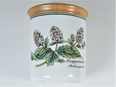 VINTAGE ROYAL WORCESTER PEPPERMINT WORCESTER HERBS POT c1990 AIRTIGHT WOODEN LID