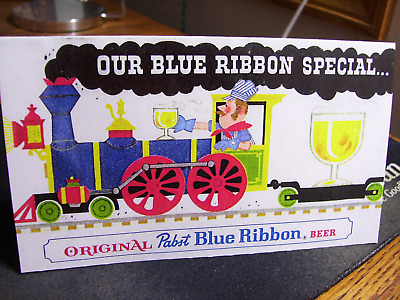 Vtg Copied 1950's Pabst Blue Ribbon Train Beer Tavern Table Sign Minty!!!!
