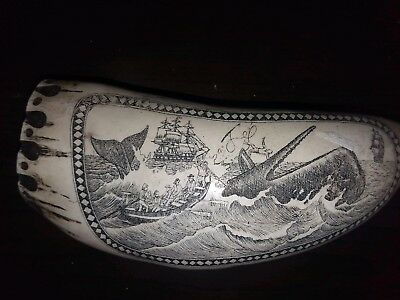 Carved Scrimshaw Resin Whale Tooth 6""