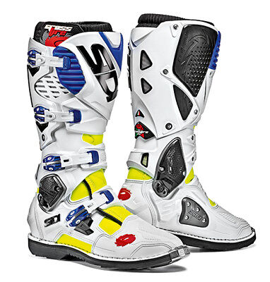 Sidi Crossfire 3 Motocross Boots - White / Blue / Fluo Yellow SIZE EU 43 UK 9