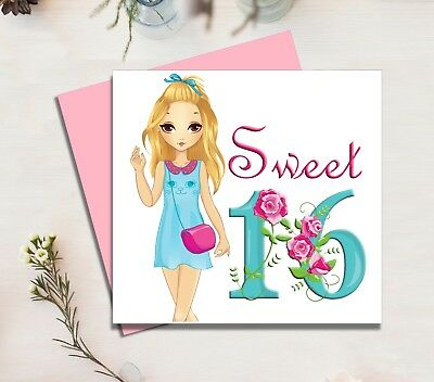 Sweet 16 Birthday Card Teenage Child Girls Daughter Sister Niece Granddaughter