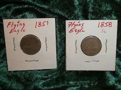 Flying Eagle cents 1857 & 1858 U. S. coins