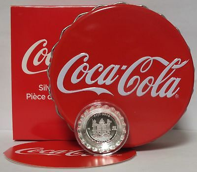 Coca-Cola 2018 Fiji Coin $1 Bottle Cap Shaped 999 Silver Proof OGP & COA - JY158