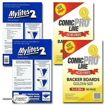 100 - Gerber Mylites 2 Silver & Golden Age Bags & Comic Pro Line Backer Boards!