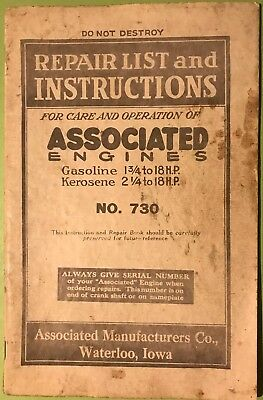 Repair List & Instructions For Associated Hit Miss Gas Engine Manual Book No 730