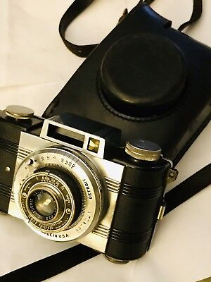 "VINTAGE DETROLA MODEL E FILM CAMERA WOLLENSAK CASE 2"" F/3.5 Velostigmat Lens-USA"