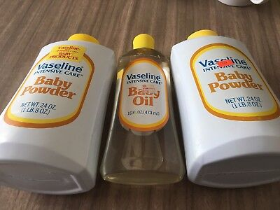 Vintage 1970's Vaseline Baby Oil Full 16 oz & 2 Used Baby Powder 50% / 75% Proos