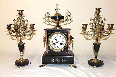 French Japy Freres Antique Slate & Marble Bracket Mantel Clock Garniture Set
