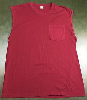 Vintage Mens XL 80s Fruit of the Loom Blank Red Sleeveless T-Shirt w/ Pocket