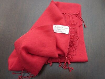 The Cashmere Centre~Ladies Red Cashmere And Silk Scarf/shawl